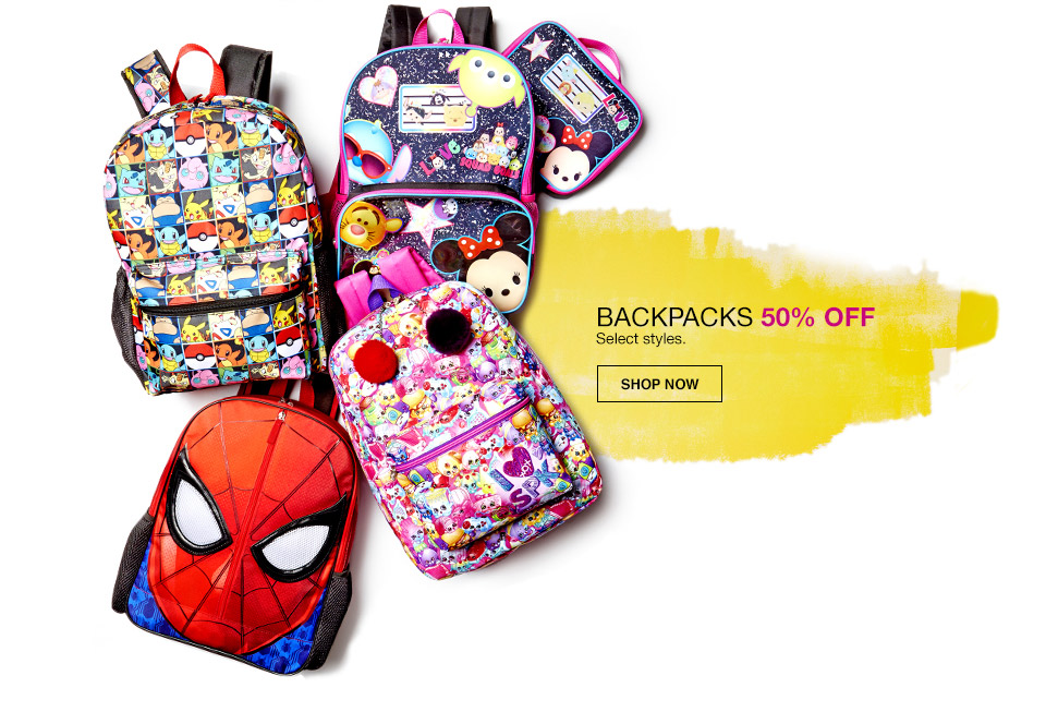 backpacks 50 percent off. select styles.
