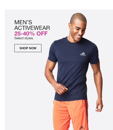 mens activewear 25 percent to 40 percent off. select styles.