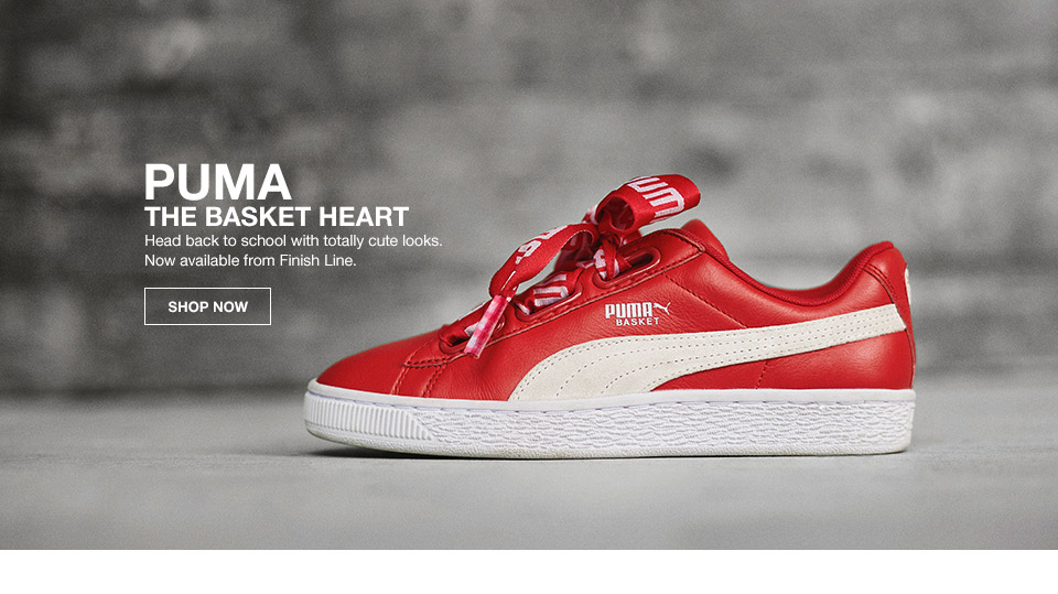 puma the basket heart. head back to school with totally cute looks. now available from finish line.