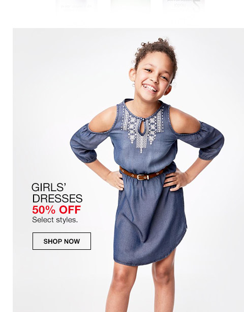 girl dresses 50 percent off. select styles.