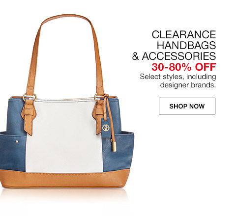clearance handbags and accessories 30 percent to 80 percent off. select styles, including designer brands.