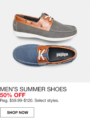mens summer shoes 50 percent off. regular $59.99 to $120. select styles.