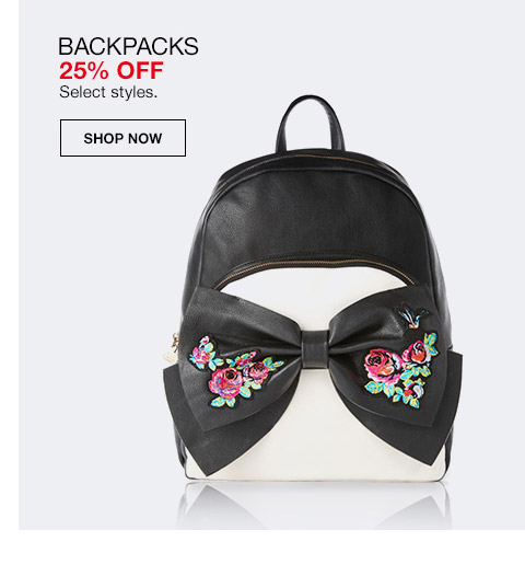 backpacks 25 percent off. select styles.