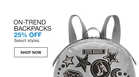on trend backpacks 25 percent off. select styles. womens clearance shoes. 50 percent to 75 percent off. select styles.