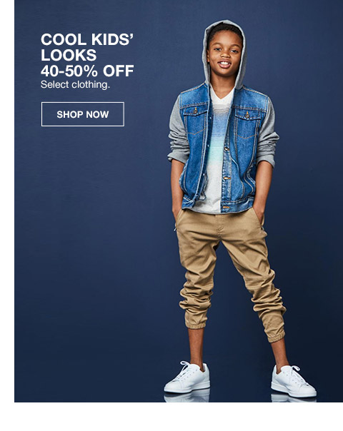 cool kids looks 40 percent to 50 percent off. select clothing.