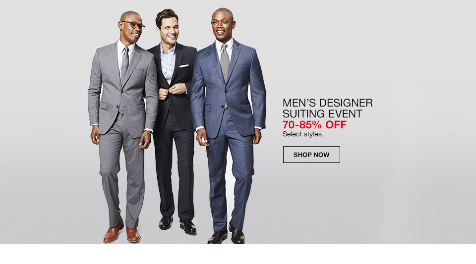 mens designer suiting event 70 percent to 85 percent off. select styles.