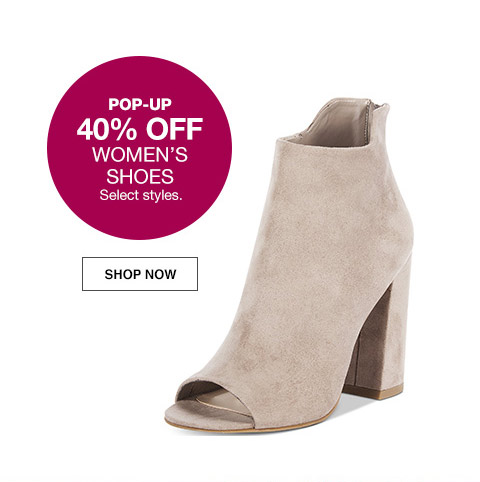 pop-up 40 percent off womens shoes. select styles.