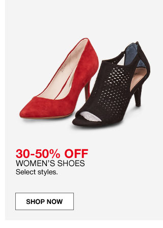 30 to 50 percent off women's shoes. Select styles.