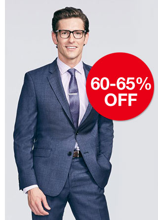 60 to 65 percent off men's designer suiting. Regular $100 to $750. Select styles from Michael Kors, Lauren Ralph Lauren and Calvin Klein.