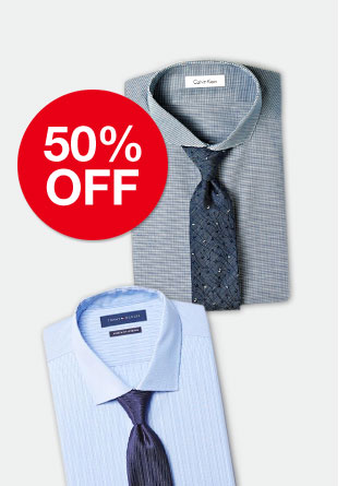 50 percent off men's dress shirts and ties. Select designer's brands from Calvin Klein and more.