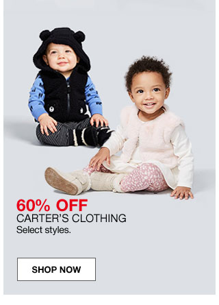 60 percent off Carter's clothing. Select styles.