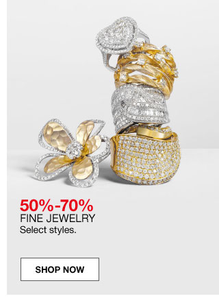 50 percent to 70 percent fine jewelry. Select styles.