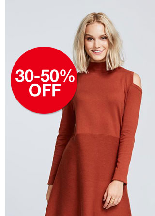 30 to 50 percent off women's sweaters. Select styles.