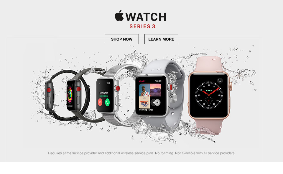 apple watch series 3. requires same service provider and additional wireless service plan. no roaming. not available with all service providers.