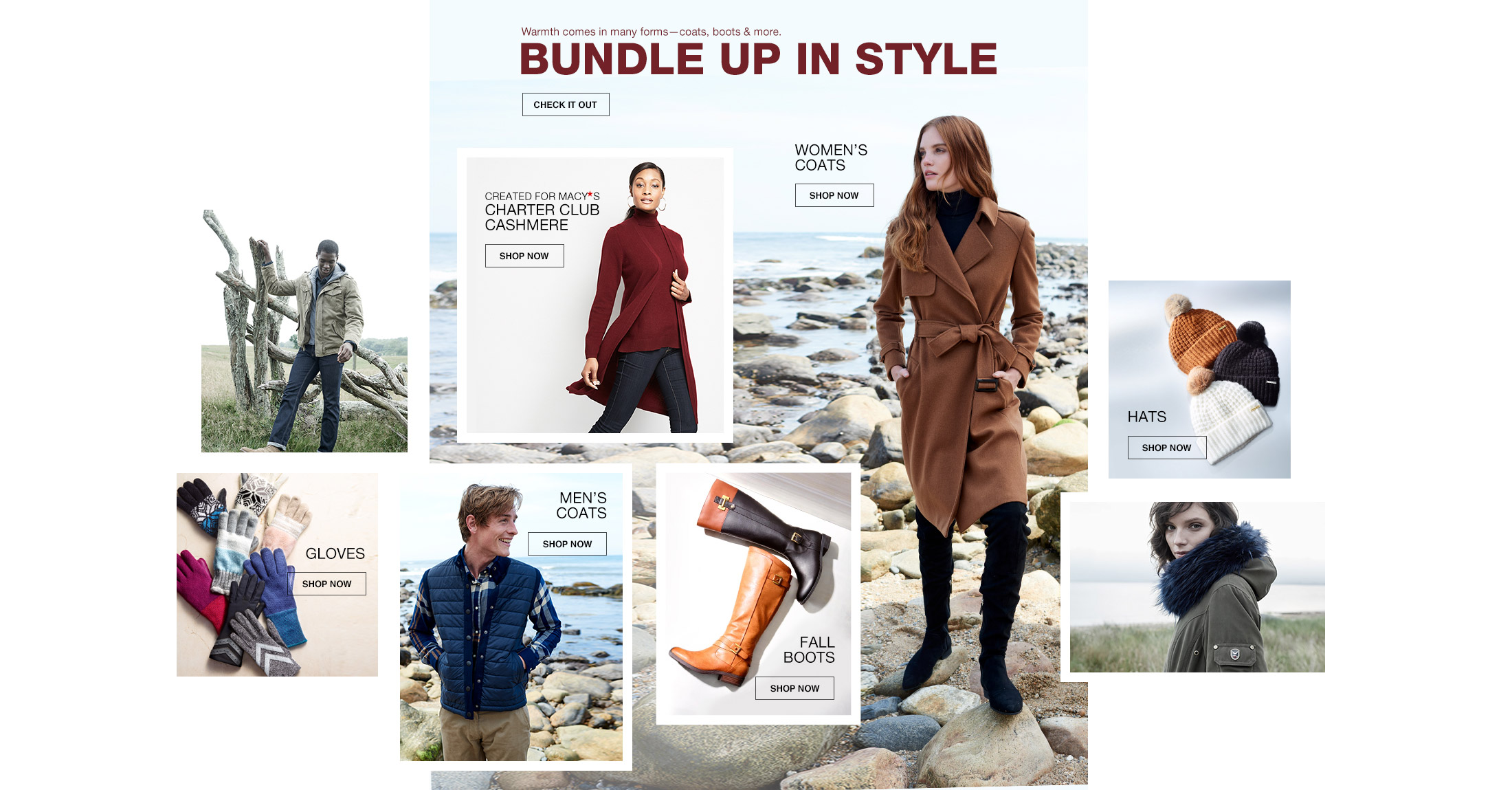 warmth comes in many forms-coats, boots and more. bundle up in style. created for macys charter club cashmere, womens coats, hats, gloves, mens coats and fall boots.
