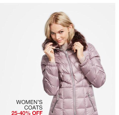 womens coats 25 percent to 40 percent off. select styles.