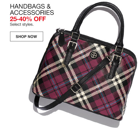 handbags and accessories 25 percent to 40 percent off. select styles.