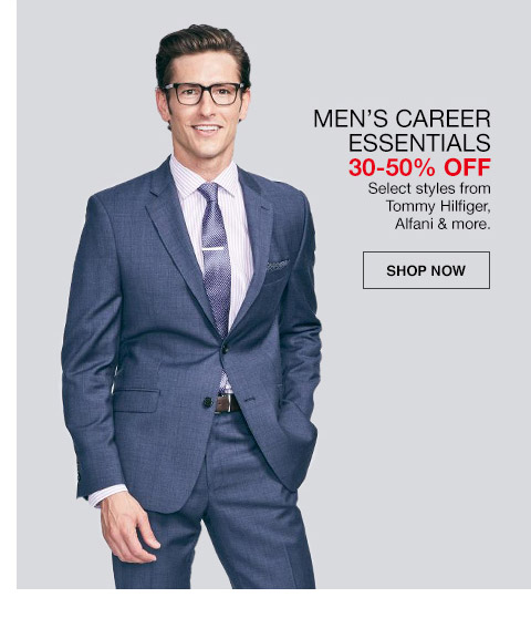 mens career essentials 30 percent to 50 percent off. select styles from tommy hilfiger, alfani and more.