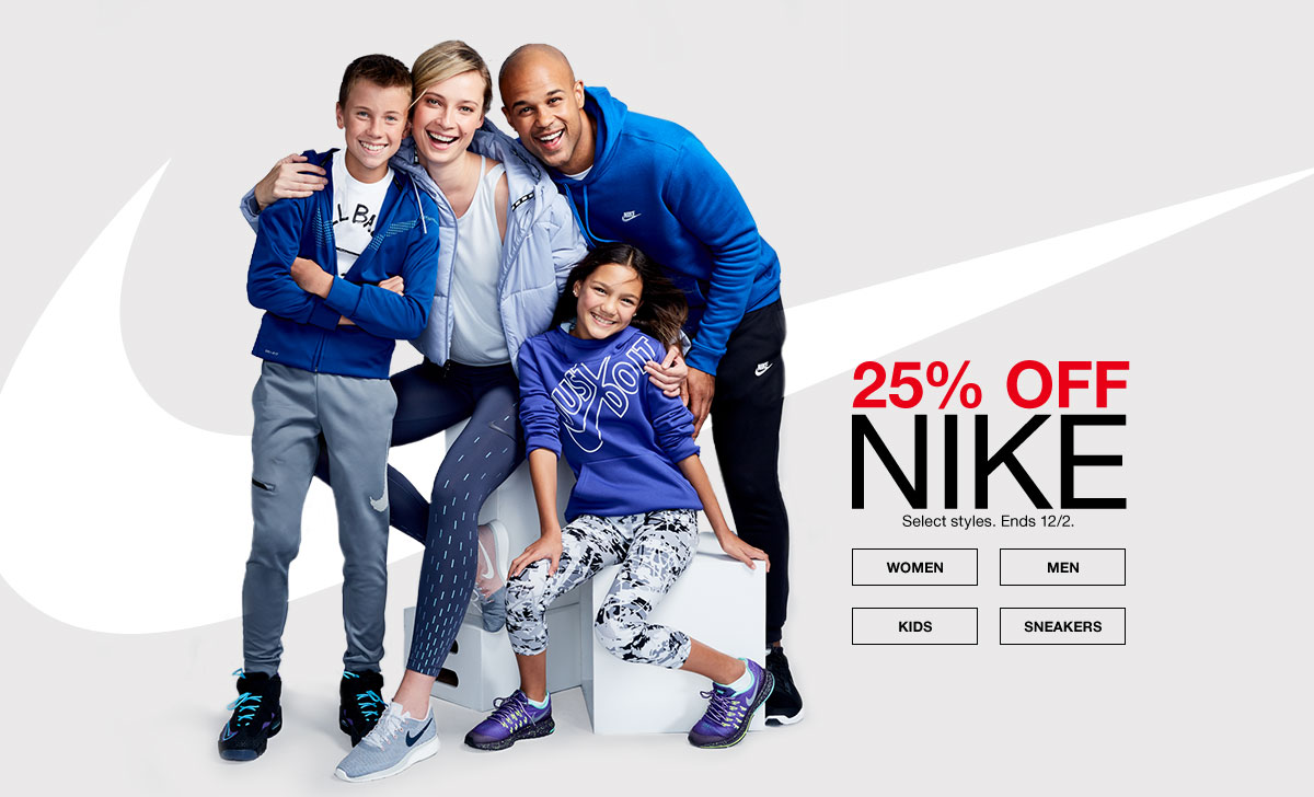 25% off nike select styles. ends december 2