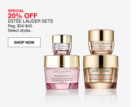 special 20% off estee lauder sets regularly $34 to $43 select styles.