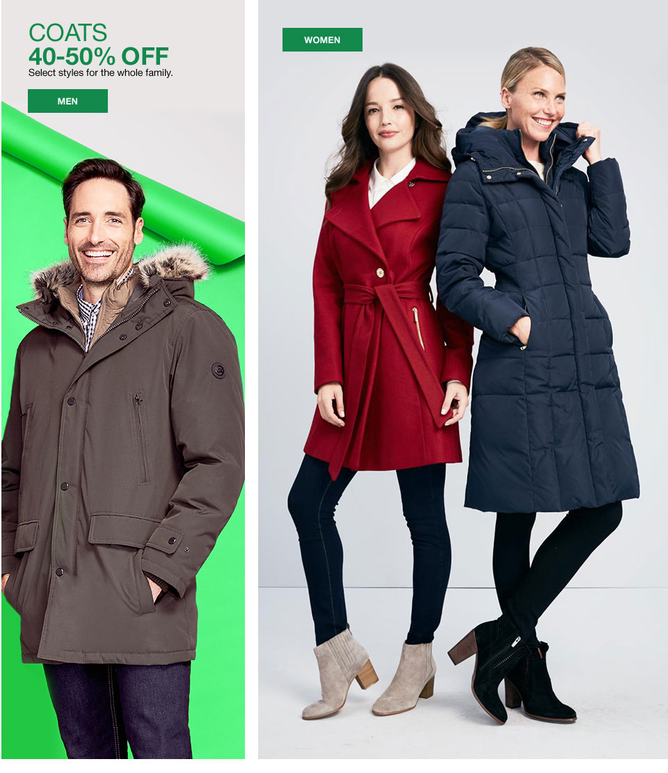 coats 40-50% off. Select styles for the whole family.