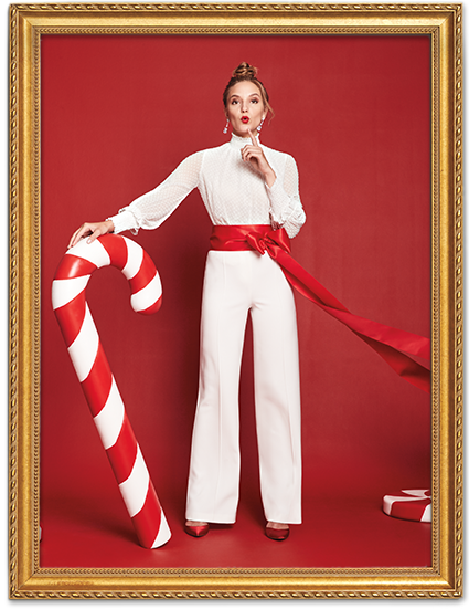 candy cane woman