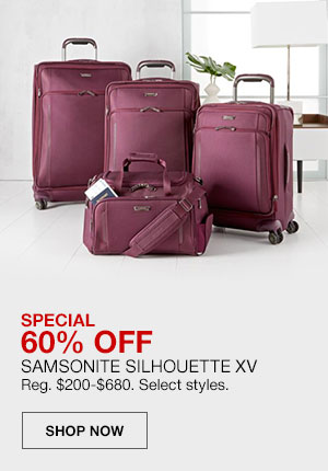 Special, 60 percent off. Samsonite Silhouette XV. Regularly 200 dollars to 680 dollars. Select styles. Shop Now