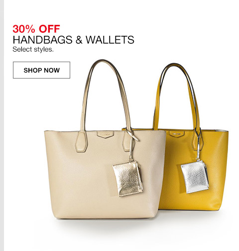 30 percent off handbags and wallets. select styles.