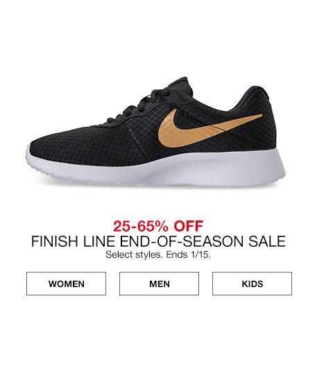 25 percent to 65 percent off finish line end of season sale. select styles. ends january 15th.