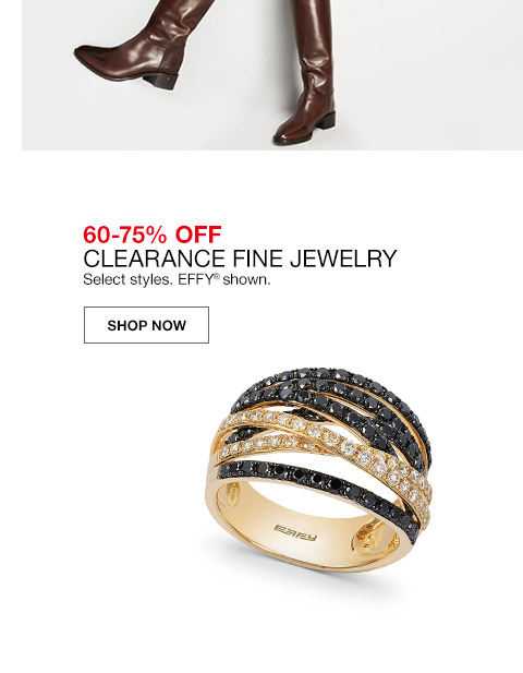 60 percent to 75 percent off clearance fine jewelry. select styles. effy shown.