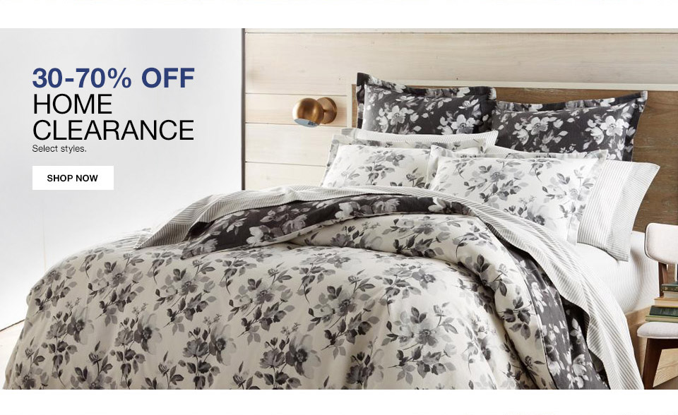 30 percent to 70 percent off home clearance. select styles.