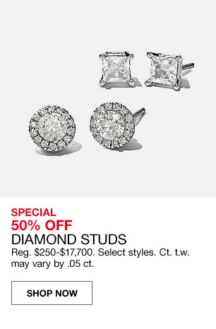 special 50 percent off diamond studs. regular $250 to $17,700. select styles carat to weight may vary by .05 carat.