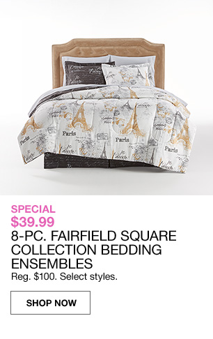 Special 39.99 8 piece fairfield square collections bedding.