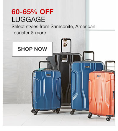 60 to 65 percent off Luggage. Select styles from Samsonite, American Tourister and more. Shop Now.