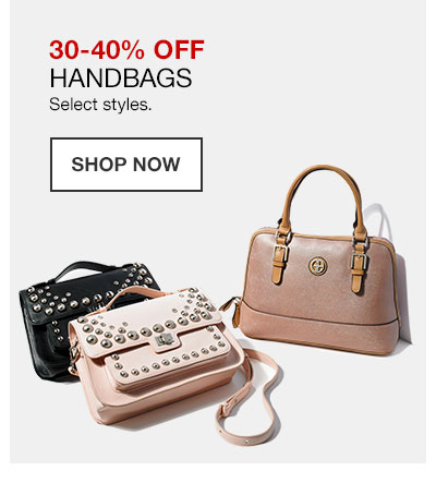 30 to 40 percent off handbags. Select styles. Shop Now.