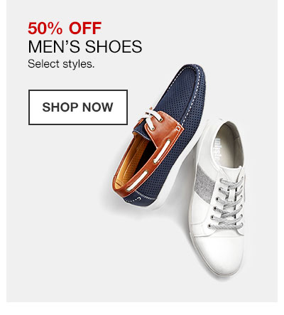 50 percent off Men's Shoes. Select styles. Shop Now.
