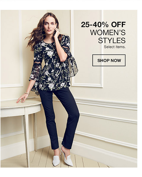 25 percent to 40 percent off womens styles. select items.