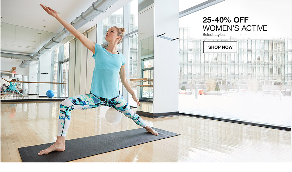 25 percent to 40 percent off womens active. select styles.