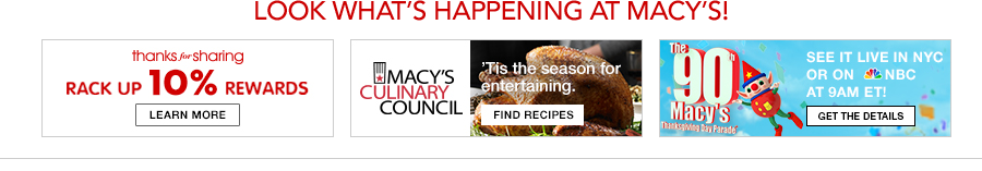 Look What's Happening at Macy's! thanks for sharing Rack up 10 percent Rewards, Macy's Culinary Council, See it Live in NYC or on NBC, get The Details